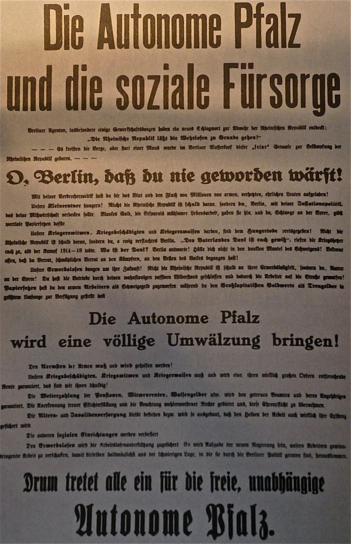 Proklamation der Separatistenregierung